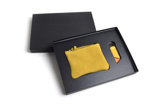 Compra welcome pack bolsita serraje llavero azul como regalos de empresa personalizados